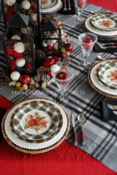 Black, white % red - Lauren Skylar and Skylar Rose plates  from Home Goods - love the plaid and roses.*