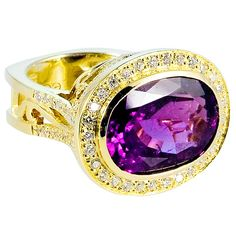Purple Tourmaline Diamond Ring | From a unique collection of vintage cocktail rings at https://www.1stdibs.com/jewelry/rings/cocktail-rings/ Purple Tourmaline Diamond Ring  Offered By Emma Quist Jewelry  $5,800