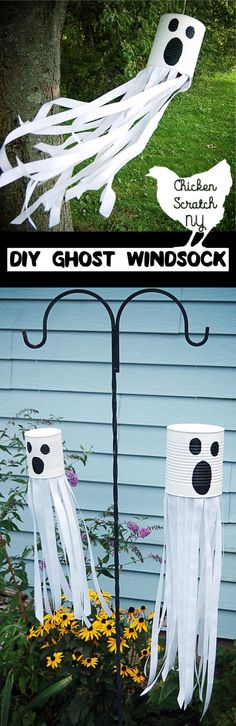 Get ready for Halloween with this DIY tutorial for a ghost windsock with ribbon and paint for a spooky friend straight from the recycle bin by penny