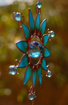 Blue Glass & Copper Wire Sun Catcher ....