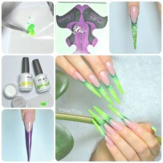 Create Vibrant Neon Stiletto nails!   Use: NSI Balance Gels, Mix of NSI Polish Pro Lemon Twist, In the Lime Light and Crystal Clear acrylic powder, NSI Stiletto forms.  Thank You NSI Russia!