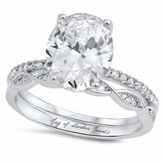 This Perfect Oval Cut Russian Lab Diamond Engagement Ring and diamond accented wedding band is styled with details to SPARKLE! New for Russian lab diamonds are grown by a proprietary proce Engagement Ring Settings, Diamond Engagement Rings, Wedding Engagement, Wedding Set, Wedding Stuff, Dream Wedding, Wedding Ideas, Brautring Sets, Do It Yourself Fashion