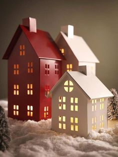 me ~ 21 Wooden House Light Christmas Decorations Christmas House Lights, Cozy Christmas, Christmas Paper, Christmas Projects, Scandinavian Christmas, Christmas Brunch, Christmas Ornaments, Box Houses, Paper Houses