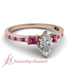 Sleek Glitter Ring|| Marquise Shaped Diamond Petite Ring With Pink Sapphire In 14K Rose Gold