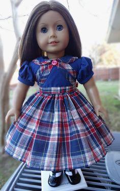 "Sleeveless Purple Plaid Dress fits 18/"" American Girl Size Doll"