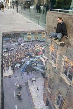 Amazing Batman & Robin Ground Painting #street