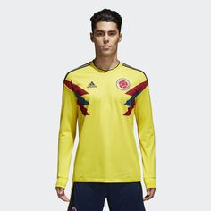 A fresh take on an iconic '90s design made famous by Colombia's legends. This men's soccer jersey is a long sleeve replica of the home shirt the team's current stars wear. Made of sweat-wicking material, it has a slightly looser cut for fan comfort and displays a woven team badge.  adidas is dedicated to creating products in ways that minimize their environmental impact. This jersey is made with recycled polyester to save resources and decrease emissions.