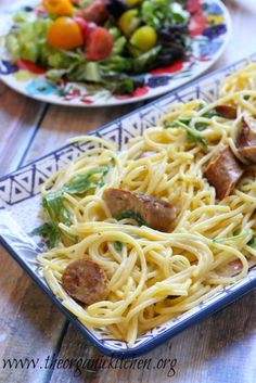 Spaghetti Carbonara with Spicy Italian Sausage and Rocket! | The Organic Kitchen Blog and Tutorials