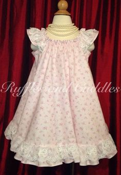 Pink Lacy Toddler Girl Dress size 3T/4T by Rufflesandcuddles