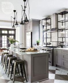 Kitchen Ideas : Grey Kitchen Cabinets Unique Industrial Ideas Whole Design F Unique Industrial Kitchen Cabinets Ikea Kitchen, Kitchen Furniture, Kitchen Interior, Kitchen Dining, Kitchen Decor, Kitchen Ideas, Kitchen Grey, Kitchen Island, Island Stools