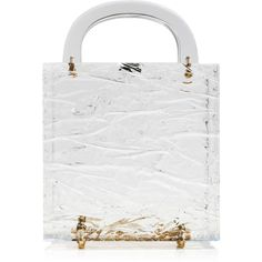 L'Afshar     Square Leon Crushed Ice Clutch (11 245 ZAR) ❤ liked on Polyvore featuring bags, handbags, clutches, neutral, lucite handbags, transparent purse, see through purse, square purse and white handbags