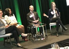 Jen Horonjeff, far right, kicks off the patient perspectives session at the #Patients2018 conference. With her, from left, are Marie Recine, Tanika Gray Valbrum, and Mike Mittelman.