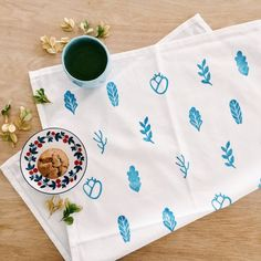 Block-printed tea towel by Whimsy Milieu Flour Sack Towels, Tea Towels, Gifts For Mum, Just Giving, Kitchen Towels, My Drawings, House Warming, Napkins, Floral Prints