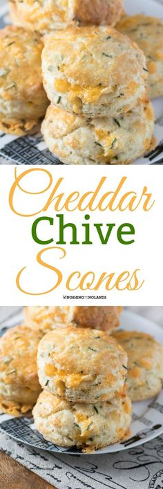 Cheddar Chive Scones by Noshing With The Nolands are a cheesy, buttery delight anytime of day. They will disappear quickly!