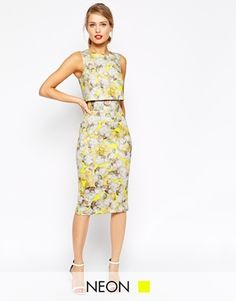 ASOS Neon Yellow Crop Top Pencil Dress