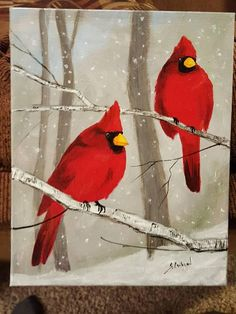 The light gray background of the woods and falling snow make the beautiful red cardinals pop. This original acrylic painting is done on a stretched canvas and is ready to install in your frame the same day it arrives to your door via USPS. Acrylic Painting Lessons, Painting & Drawing, Watercolor Paintings, Airbrush Painting, Winter Painting, Winter Art, Canvas Background, Gray Background, Christmas Art