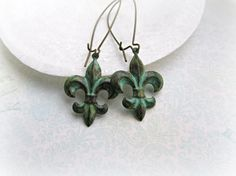 Verdigris Patina Fleur de lis earrings by HappyTearsbyMicah, $13.00