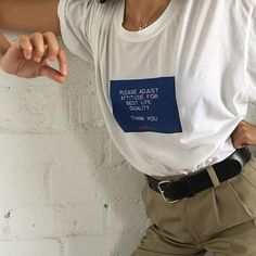 PLEASE ADJUST ATTITUDE FOR BEST LIFE QUALITY. None of you even remember VHS tracking, huh? Dang. Buttery soft white crew neck with printing on front. Each tee h
