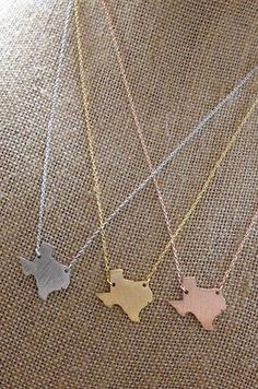 """Keep your favorite state close at heart whether you are near or far. Options for the Texas Necklace are silver, gold or rose gold. 18"""" chain."""