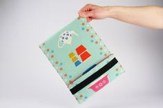 Ipad sleeve  Happy dishes on light blue by octopurse on Etsy, $42.00