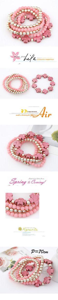Cocktail Pink Cross Multilayer Bead Korean Fashion Bracelet,Korean Fashion Bracelet  http://earrings.asumall.com/