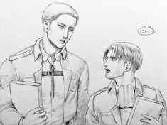 """tsukareta-levi: """" Art by にいに〜 ※ Posted with written permission ※ Do not repost or remove the source """" Levi Ackerman, Levi And Erwin, Erwin Aot, Aizawa Shouta, Eruri, Attack On Titan Levi, Cool Cartoons, Coming Home, Pretty Pictures"""
