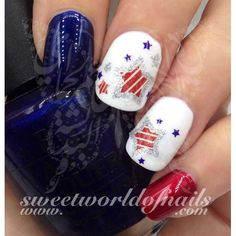 4th of July Nail Art Water Decals Glitter Stars American Flag Fourth of July Nails