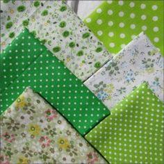 Набор тканей из 6 лоскутов, 100% хлопок, зеленый