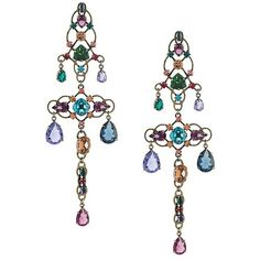 Lanvin long 'Ginger' line earrings ($1,655) ❤ liked on Polyvore featuring jewelry, earrings, multi color earrings, tri color earrings, multi color jewelry, ginger jewelry and multi colored earrings