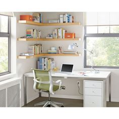 Nice Looking Office Shelving Ideas Office Shelf Ideas Pictures Remodel And Decor - Home Office Design Home Office Shelves, Desk Shelves, Home Office Space, Desk Storage, Home Office Design, Home Office Decor, Floating Shelves, Home Decor, Office Ideas