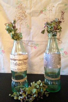 Christmas hymns wrapped around bottle with twine