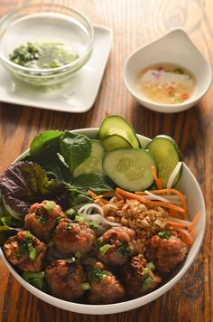 Noodle Bowl Recipe - Vietnamese Grilled Pork Meatballs