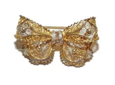 Stamped .800 Silver & Gold Plated Fancy Bow Brooch