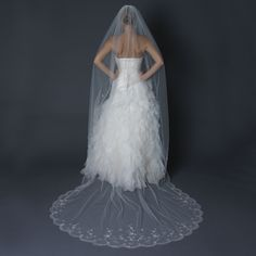 Single Layer Cathedral Length Scalloped Cut Edge Veil with Swirly Beaded Embroidery & Sequins V 1134 1C
