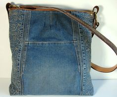 upcycled blue jean jacket big Weekender Bag by karenlukacs on Etsy
