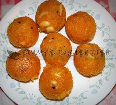 Boondi Ladoo is a Rajasthani snack food made from sweetened, fried chickpea flour. Being very sweet, it can be stored for a week or so. Boondi Ladoo, Indian Sweets, Deli, Fries, Snack Recipes, Muffin, Breakfast, Desserts, Food