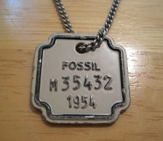 Fossil Brand~Mens~Distressed Logo License Tag Pendant~Silver Chain Necklace~$38 #Fossil #Pendant