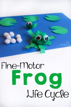 This fine-motor frog life cycle craft is perfect for your life cycle theme! Plus, it's great for building language skills! Your preschoolers will love creating the frog life cycle from pom poms. Perfect for scissor skills in preschool. Preschool Learning Activities, Science Activities For Kids, Spring Activities, Science Fun, Nursery Activities, Preschool Science, Science Projects, Classroom Activities, Teaching Ideas
