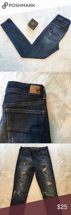 🆕American Eagle Hi Rise Distressed Jeggings American Eagle high rise distressed jegging jeans. Size 6. Approximate measurements are 28' waist & 29' inseam. GUC. ❌No trades ❌ Modeling ❌No PayPal or off Posh transactions ❤️ I 💕Bundles ❤️Reasonable Offers PLEASE ❤️ Bundle & SAVE❗️❗️ American Eagle Outfitters Jeans Skinny