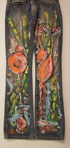"""Flamingos and bamboo""denim hand painted"