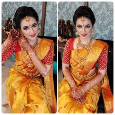 This colour combo works great on this bride.  Elegant Designer Saree  CLICK VISIT link to read more #sarees #sari #silksarees #classysaree