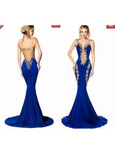 Rochie albastra cu spatele dezgolit tip sirena Diva