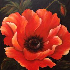"""Painting by Jori Joriginals.ca """"Summer Poppy"""" 40x40"""""""