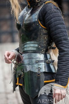 "Female armor kit made of blackened spring steel ""Dark Star"" for sale. Available in: stainless, blackened spring steel, mirror polishing, satin polishing :: by medieval store ArmStreet"