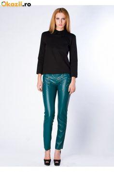 Pantaloni verzi din piele cu tinte