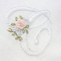 Monogram AddOn Floral Hand Embroidered by CommonThreadCottage Embroidery Alphabet, Embroidery Monogram, Silk Ribbon Embroidery, Hand Embroidery Patterns, Embroidery Applique, Embroidery Stitches, Machine Embroidery, Brazilian Embroidery, Heirloom Sewing