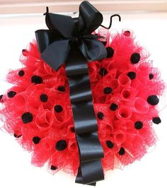 Ladybug Party Ideas | Ladybug Wreath | Red and Black Wreath | One Year Old Birthday Party