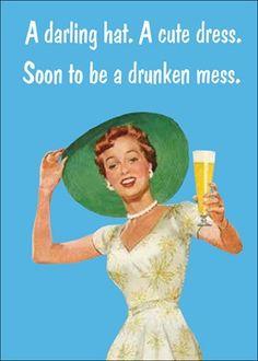A darling hat, a cute dress, soon to be a drunken mess.