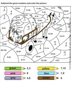 Nalezený obrázek pro subtraction color by number Subtraction Worksheets, Kindergarten Worksheets, English Activities, Activities For Kids, Math Sheets, Maths Puzzles, Math Practices, Basic Math, 1st Grade Math