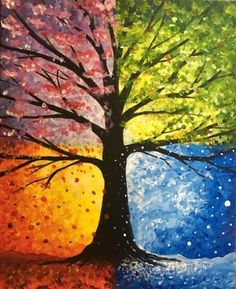Tree painting seasons art projects 54 ideas for 2019 Easy Canvas Painting, Simple Acrylic Paintings, Abstract Paintings, Painting & Drawing, Canvas Art, Texture Painting, Art Paintings, Abstract Art, Spring Painting